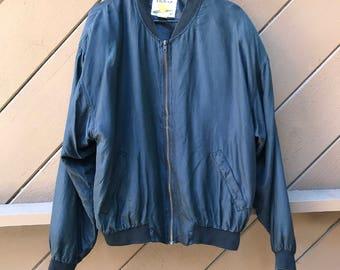 80s 90s Black Silk Bomber Jacket