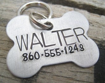Classic Dog Bone ID Tag- Hand Stamped Pet ID Tag - Personalized Pet/Dog Tag - Dog Collar Tag - Engraved Dog Tag - Handsatmped Pet Tag