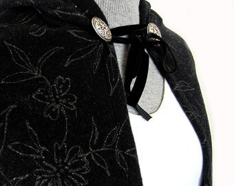 Pure Italian Wool Witch Pagan Silver Black Cloak