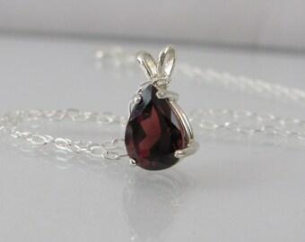 Garnet Necklace in Sterling Silver, Garnet Pendant, Valentine Gift, Garnet Jewelry, Red Garnet Gemstone, January Birthstone, 9x6mm Pear