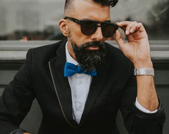 Pick Stitch in Royal Bow Tie | Bow Tie | Royal Blue Bow Tie | Chambray bow tie | Blue Cotton Bow tie | Cotton Bow Tie