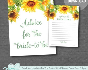 Sunflower Advice For The Bride To Be Card and Sign Bridal Shower Game Printable, Lingerie Shower, Bachelorette Party, Advice Card, 40S