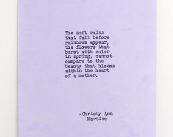 Mothers Day Gift or Mom - Mother Poem - Hand Typed by Poet with Vintage Typewriter