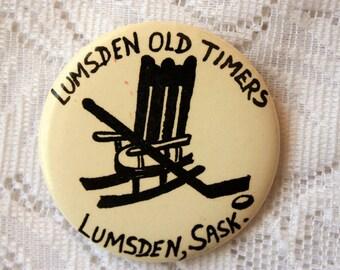 Lumsden Old Timers Hockey Pin Back, Lumsden Hockey, Rocking Chair Pin Back, Vintage Hockey Team Pin Back, Seniors Hockey