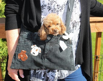 PET SLING CARRIER XSmall Teacup / Purse made from Upcycled Jeans Black & Brown W/Dogs
