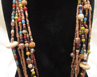 African Trade Bead and Wooden Bead Necklace, Multicolor Necklace