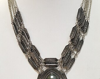 Silver Chain Tribal Style Necklace / Silver Necklace with Gray Bead.