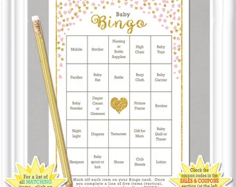 66 Card BABY Shower BINGO With Gold Accents And Blush Colored Hearts, Diy PRINTABLE  Baby
