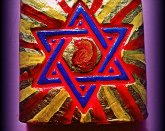 Star of David Flame, Flaming Star of David Pendant, Flaming Star, Star of David with Flame, Star of David with gold and red rays