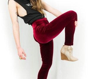 Danna Red Stretch Velvet High-Waisted Skinny Leg Pants