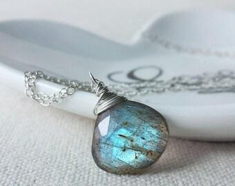 Blue Labradorite Necklace, Sterling Silver Labradorite Necklace, Artisan Jewelry, Labradorite Pendant, Sterling Silver Pendant necklace