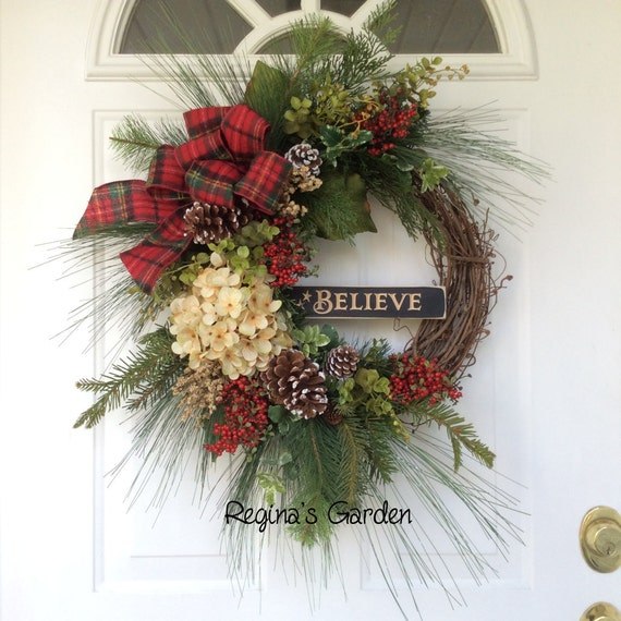 Christmas wreath holiday winter wooden sign