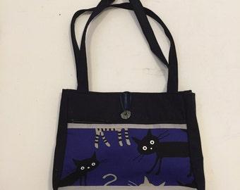 Blue Cats Handmade Tote Bag