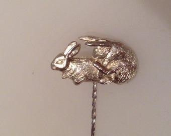 Bonking Bunnies Silver Stick Pin, Lapel Badge, Risqué, Naughty, Rude Tie Pin
