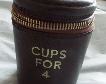 Vintage 1950's Tumbler set in pouch  Set of Four picnic Cups set inside of each other with lid in faux leather pouch