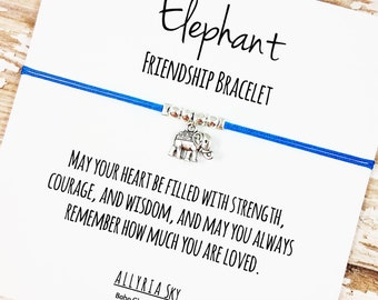 Gold or Silver Elephant Charm Friendship Bracelet | Inspirational, Best Friend Gift Jewelry | Strength, Courage, Love Bracelet