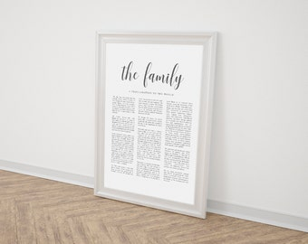 LDS Family Proclamation | The Family A Proclamation To The World | Comes in 8x10, 11x14 and 16x20  Printable | Minimalist | Instant Download