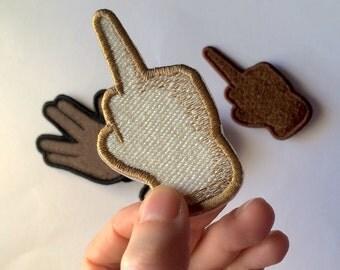 Middle Finger Emoji embroidered patch