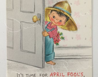 April Fool's Day Card, Unused Vintage 1950s Hallmark