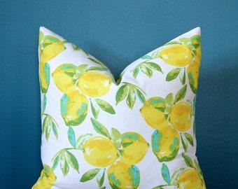 Lemon Pillow Cover - Yellow Pillow Cover - Yellow Decor - Spring Decor - Citrus Pillow Cover - Botanical Pillow Cover - Lemon Decor