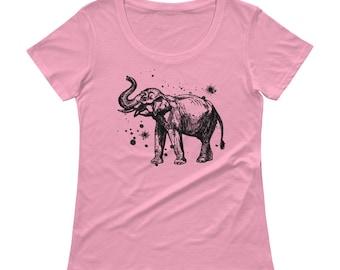 Elephant Tshirt - Elephant T Shirt - Womens T Shirt - Bunny T Shirt - Elephant Printed T shirt - Graphic Tee - Ladies Tee