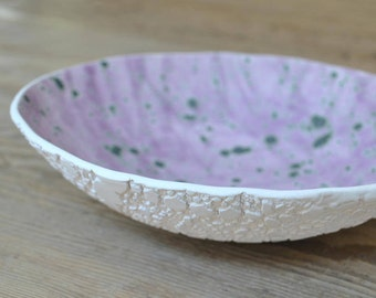 Lilac Backside Doily imprinted Handmade Pottery Bowl, Serving Platter, Lace imprinted on the outer surface, Home Decor