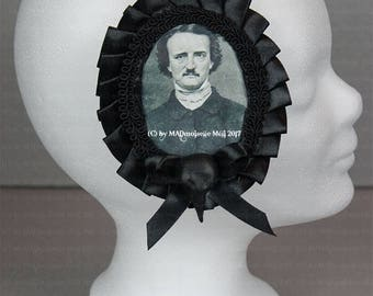 Extraordinary hair clip/brooch for the Gothic Lady with Edgar Allan Poe