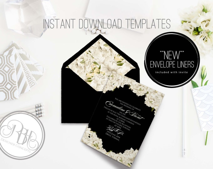 White Peonies Invite/Envelope Liner-INSTANT DOWNLOAD Template-Wedding 5x7 PDF/Psd Editable Text Only-White Peonies w/black background-Renee