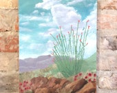 modern vintage original landscape artwork SIGNED DATED 1982 | southwestern cactus succulent flowers