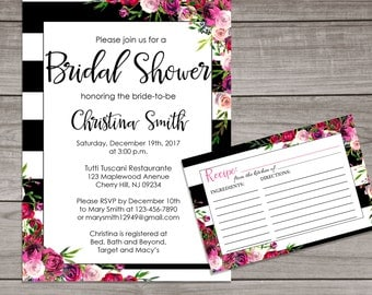 Floral Bridal Shower Invitations and Recipe Cards - Floral Bridal Shower - Black and Pink Bridal Shower Invitation -  Bridal-162