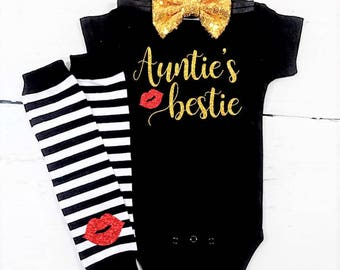 aunties girl aunties girl outfit aunties bestie aunties bestie outfit black and gold baby shower gift girl newborn girl clothes niece outfit