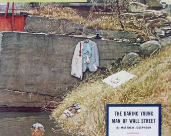1945 Salesman Skinny Dipping in Swimming Hole - Norman Rockwell Artwork - 1940s Saturday Evening Post Cover