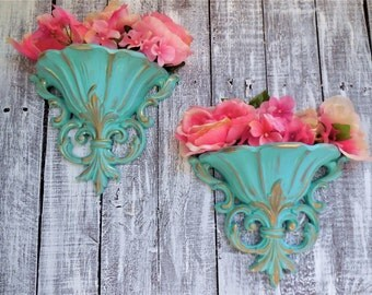 Blue Baroque Pocket Vases, Wall Hanging Flower Planter, Matching Set of 2 Pair, Syroco #4446 Gold Scrolls Hollywood Regency