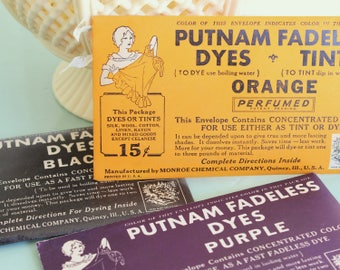 Vintage PUTNAM FABRIC DYE Packets - Set of 3 - Black, Orange & Purple, Vintage Halloween Crafting Supplies