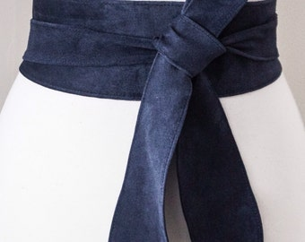 Navy Blue Suede Tulip Tie Obi Belt | Waist Belt | Suede Tie Belt | Real Suede Leather Belt| Dark Blue Belt | Plus size belts