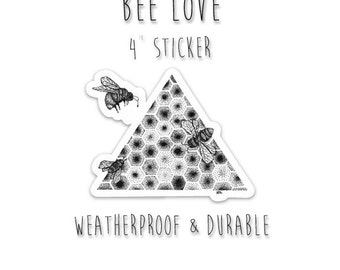 "Save the Bees Sticker 4"" Weatherproof and durable, Outdoor sticker, Travel sticker, Wanderlust, Wildlife, Trees Bear silhouette"