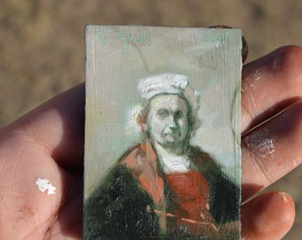 REMBRANDT STUDY / Mini Oil Painting / Refrigerator Magnet