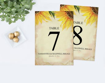 Customizable Rustic Table Numbers, Sunflower Table Number Rustic Wedding, Wedding Table Number Personalized Decor Editable Text PDF Template