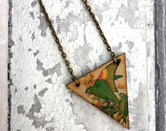 Amazon Parrot Necklace, Bird Jewelry, Bird Jewellery, Parrot Necklace, Bunting Jewellery