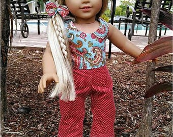 18 inch Doll Clothes, 18 inch Doll Crop Top & Pants and Hair Tie, 18 inch Doll 3 Piece Outfit