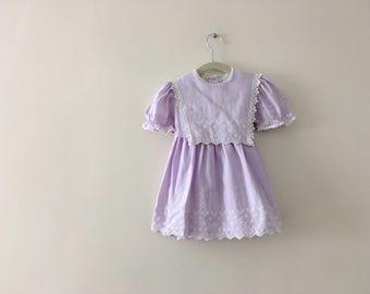 Vintage Lavender Embroidered Dress - Size 4t