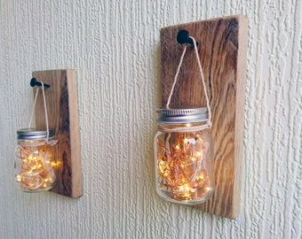 Mason Jar Sconce with Fairy Lights