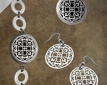 Diffusing Mama's Essential Oil Diffuser Bundle - Old World Cross Necklace/Bangle/Earrings (30mm) - A3/N7/BB13