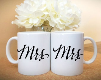 Mrs. and Mrs. Coffee Mugs, Couples Mugs