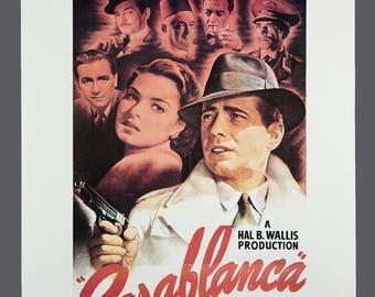 Vintage 1970 Poster 1943 Movie Casablanca Hollywood Poster Portal Publications 20 x 28 Humphrey Bogart Ingrid Bergman