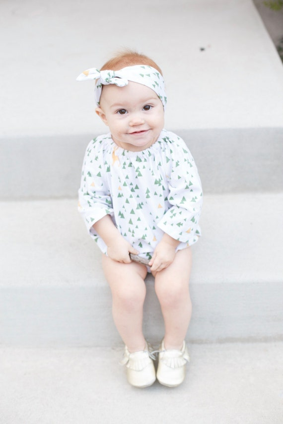 Christmas Baby Romper Long Sleeve Toddler Romper with Snaps Green Gold Deer Peasant Dress Outfit First Christmas Deer Romper Gold Dress