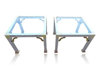 VVH Pair Maison Jansen Style Chrome And Brass End Tables Mid Century Modern  Chrome Side Tables