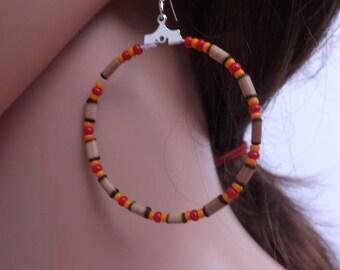 Hoop earrings, bamboo and bead earrings, bamboo earrings, ring earrings, beaded hoops, summer earrings, Boho jewellery, gypsy earrings