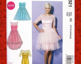 McCall's Sewing Pattern M7321, Formal Dress, Short Evening Gown, Misses', Petite Sizes 14 16 18 20 22, Wedding Party Bridal Bridesmaid UNCUT