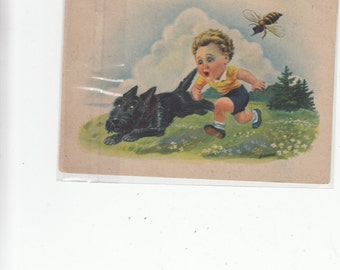 """Boy And Scottish Terrier Sottie Dog Getting Chased By A Bee/Wasp 4""""X6"""""""